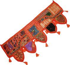 Orange Indian cotton window valance topper vintage sari Window Toppers, Garden Bedroom, Mirror Work, Tapestry Wall Hanging, Valance, Etsy Vintage, Sari, Indian, Orange