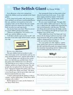 Third Grade Comprehension Worksheets: The Selfish Giant