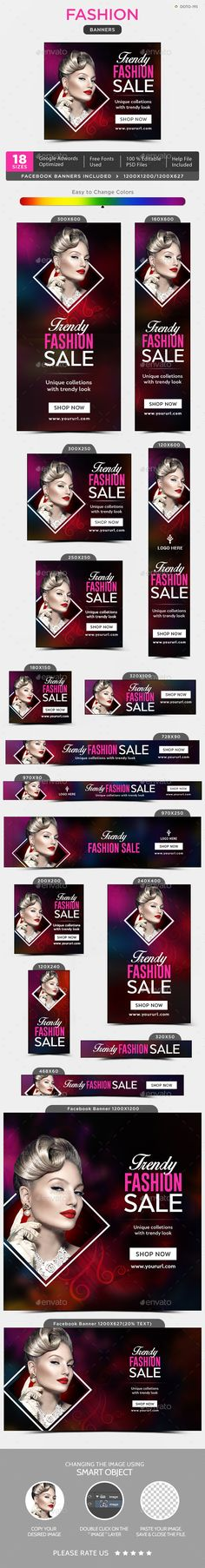 #Fashion #Banner #template - Banners & Ads Web Elements #design. download; https://graphicriver.net/item/fashion-banners/20337599?ref=yinkira