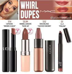 """MAC Whirl Lipstick Dupes - All In The Blush MAC Whirl Lipstick Dupes Rimmel London<br> I have another MAC Cosmetics Lipstick dupe to share with you! The next shade up on the dupe list is """"Whirl"""", a dirty rose hue. Skincare Dupes, Drugstore Makeup Dupes, Beauty Dupes, Makeup Swatches, Beauty Makeup, Mac Blush Dupes, Nars Dupe, Mac Lipstick Swatches, Hair Beauty"""
