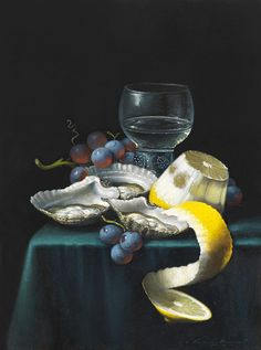 'Peeled Lemon' Oil on Canvas: 40 x 30 cm Signed by Brian Davies (1942 - 2014)