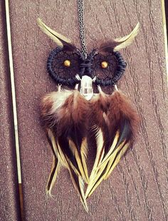 Made to Order Owl Dream Catcher Necklace / by FlozotikCreations