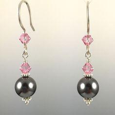Dark Grey Swarovski Crystal Pearls & Swarovski Crystal Simple Drop Earrings - 8mm