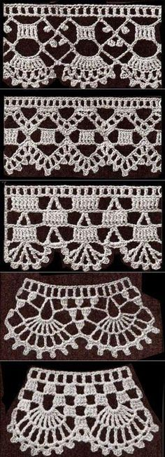 If you looking for a great border for either your crochet or knitting project, check this interesting pattern out. When you see the tutorial you will see that you will use both the knitting needle and crochet hook to work on the the wavy border. Crochet Edging Patterns, Crochet Lace Edging, Crochet Motifs, Crochet Borders, Crochet Designs, Crochet Doilies, Crochet Flowers, Crochet Granny, Crochet Hook Set