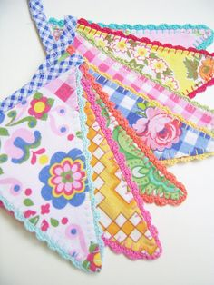 Life is a Party-with these mini fabric crochet edged bunting flags