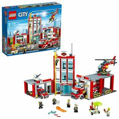 Lego city fire station, 919 pcs - brand new/sealed by LEGO Complete Sets & Packs category. LEGO City Fire Station 60110 LEGO City's Fire Station has Lego City Police Station, Lego Police, Legos, Construction Lego, Lego Fire, Lego City Sets, Hot Dog Stand, All Lego, Lego Toys