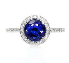 $1225 Blue Sapphire Engagement Ring Round Halo Diamond Sapphire Ring Custom Wedding Jewelry 14K or Palladium