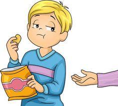 Illustration Little Boy Refusing Share Snacks Stock Vector (Royalty Free) 533989342