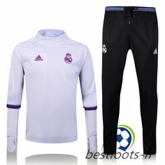 Le Survetement de foot Real Madrid Collar Blanc + Pantalon Bleu 2016 White  Pants 11b05f7303f7c