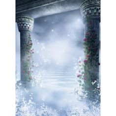 Fantasy Columns n Mist Background Room ❤ liked on Polyvore featuring backgrounds, winter, effects, christmas and fairytales