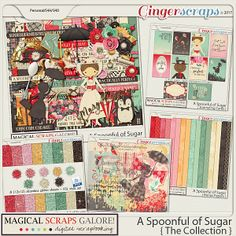 """A Spoonful of Sugar is a feminine collection inspired by the beloved magical nanny, Mary Poppins. In soft pastels and reds, this gorgeous collection is filled with custom-drawn elements. This collection is """"practically perfect"""" for scrapping magical meet and greets, character meals, themed birthday parties, your favorite movie, story time at the library, and so much more!"""