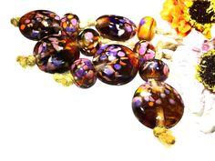 Handmade Lampwork Glass Beads From Murano Glass Multi-Color Round  11 Pcs #HandmadeLampworkBeads #Lampwork