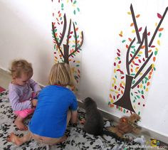 building fall tress on contact paper. I love the larger than paper size! Simple and Easy Fall Tree Activity for fine motor skills. Fall Art Projects, Toddler Art Projects, Fall Arts And Crafts, Fall Crafts For Kids, Autumn Activities, Craft Activities For Kids, Fall Tree Painting, Kindergarten Art Projects, Fall Preschool