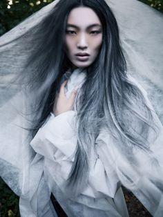 Chiharu Okunugi by David Dunan for Vogue China December 2014 Fashion Editor: Ida Wang Hair: Nicolas Jurnjack Make-up: Alice Ghendrih