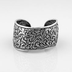 Precious Basics Collection - Organic burnished silver cuff with floral arabesque detail Silver Cuff, Silver Jewelry, Cuff Bracelets, Bangles, Wild Hearts, Arabesque, Jewelry Design, Designer Jewellery, Swarovski Crystals