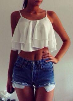 crop top + high waisted jean shorts