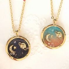 Harajuku galaxy universe planet Saturn moon diamond the long necklace sweater ch. Harajuku galaxy universe planet Saturn moon diamond the long necklace sweater chain. Cute Jewelry, Jewelry Box, Jewelry Accessories, Jewelry Necklaces, Gold Necklace, Pendant Necklace, Gold Bracelets, Diamond Earrings, Jewlery