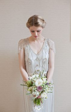 unique dress and pretty bouquet