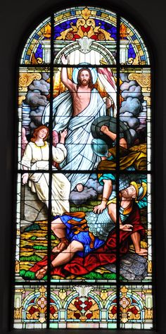 "~ Living a Beautiful Life ~ Stained glass window ""Resurrection"" Holy Trinity Ukrainian Catholic Church-Youngstown Ohio, installed 1920 Broken Glass Art, Sea Glass Art, Mosaic Glass, Shattered Glass, Wood Glass, Fused Glass, Stained Glass Church, Stained Glass Art, Stained Glass Windows"