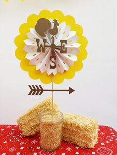 Farm Birthday Party Decorations Centerpiece - Weathervane Rooster - Barn Country…