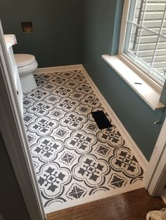 Love the pattern of this concrete or cement tile floor. Cute for a small bathroo… Love the pattern of this concrete or cement tile floor. Small Half Bathrooms, Bathroom Small, Bathroom Green, Moroccan Bathroom, White Bathroom, Small Powder Rooms, Small Bathroom Floor Plans, Small Master Bath, Simple Bathroom