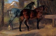 Rosa Bonheur, TWO HORSES IN A STABLE