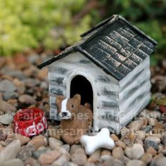 Fairy Homes and Gardens - Miniature Dog House, $9.45 (https://www.fairyhomesandgardens.com/miniature-dog-house/)