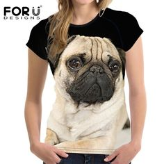 3769572a1a Cheap crop top tee, Buy Quality casual tee directly from China tee top  Suppliers: FORUDESIGNS Pug Dog Women Brand Summer T shirt Animal Pattern  Female ...