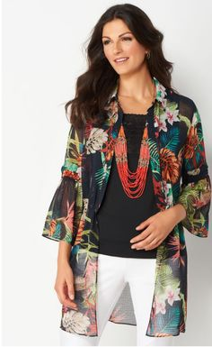 With its sheer fabric, fluttery bell sleeves and bold tropical pattern, this duster provides a look that's both fashionable and fun. Plus, a drawstring at the waist lets you find the perfect fit.