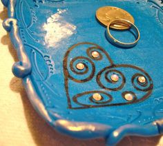 BLUE Polymer Clay JEWELRY Dish  Metallic Blue with by KatersAcres, $24.50