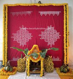 Sathyanarayana Swamy Vratham Decor DecorbyKrishna is taking orders for eco-friendly home based event Background Decoration, Backdrop Decorations, Diwali Decorations, Festival Decorations, Flower Decorations, Desi Wedding Decor, Home Wedding Decorations, House Warming Ceremony, Housewarming Decorations