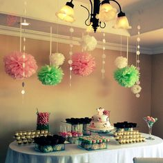 Sweet table, bautizo, pink and mint decoration