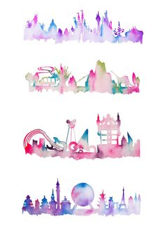 Please note, these items are prints of original paintings. ------------------------------------------------------------ A 4 pack of my first series of Florida inspired theme park watercolour skyline prints. This set includes: Magic Kingdom Hollywood Studios Animal Kingdom EPCOT ------------------------------------------------------------ Please choose your preferred size from the drop down menu when adding your item to the cart. Need a different size? Just leave me a message with th...