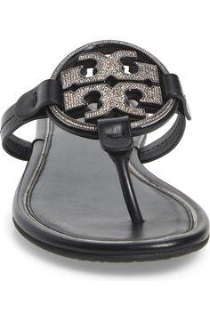 Tory Burch Miller Crystal Logo Flip Flop (Women) | Nordstrom Crystal Logo, Block Sandals, Tory Burch, Flip Flops, Nordstrom, Crystals, Women, Fashion, Moda