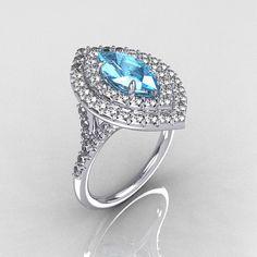 Soleste Style Bridal 14K White Gold 1.0 Carat Marquise Aquamarine Diamond Engagement Ring R117-14WGDAQ