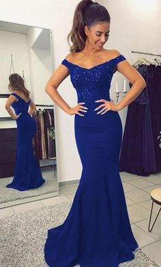 Off the Shoulder Mermaid Long Prom Dress With Applique and Beading School Dance Dress Fashion Winter Formal Dress Prom dresses for mermaid style evening dresses 2019 Blue Mermaid Prom Dress, Royal Blue Prom Dresses, Prom Dresses For Teens, Sexy Dresses, Evening Dresses, Bridesmaid Dresses, Party Dresses, Royal Blue Long Dress, Amazing Prom Dresses