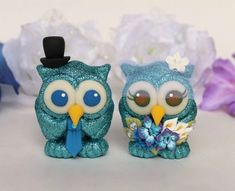 Owl wedding cake topper bride and groom love birds, glitter wedding cake topper, custom cake topper, silver glitter wedding Owl Wedding, Glitter Wedding, Silver Glitter, Blue Wedding, Wedding Ideas, Custom Wedding Cake Toppers, Wedding Cakes, Owl Cake Toppers, Clay Figurine