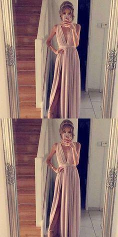 Elegant Chiffon Dusty Pink Prom Dress Long Formal Evening Dress With Side Slt Prom Dresses, Pink Evening Dresses, Chiffon Evening Dresses Prom Dresses 2019 Cheap Gowns, Cheap Party Dresses, Elegant Prom Dresses, Long Prom Gowns, A Line Prom Dresses, Dress Prom, Dance Dresses, Long Dresses, Bridesmaid Dress