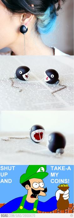 why not these chain chomp earrings too!?
