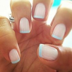 LOVE this modern french manicure for summer! Pale blue tips