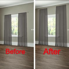 How to hang your curtains to give the illusion of larger windows. -- 27 Easy Remodeling Projects That Will Completely Transform Your Home(Diy House Renovations) Diy Casa, Easy Home Decor, Best Interior Design, Home Renovation, Home Projects, Home Improvement, Sweet Home, New Homes, How To Hang Curtains