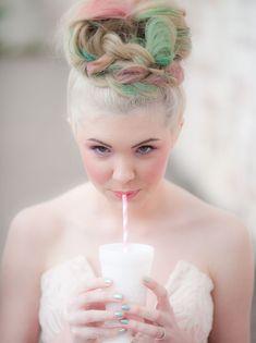 hair chalk bride
