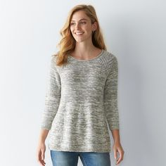 Women's SONOMA Goods for Life™ Marled Crewneck Sweater, Size: Medium, Lt Green