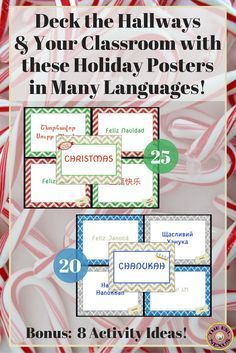 "Celebrate December holidays around the world by saying Merry Christmas & Happy Hanukkah in many languages with these 8.5"" x 11"" posters. Christmas greetings are presented for 25 countries & Hanukkah wishes are presented for 20 countries. Eight ideas for Hanukkah and Christmas math, writing, and art activities related to the countries in this product are also included."