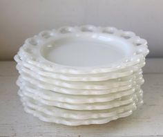 vintage milk glass plates