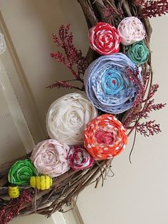 Spring wreath...This is so pretty.  I must start doing more with fabric