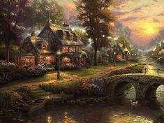 Thomas Kinkade - Sunset on Lamplight Lane