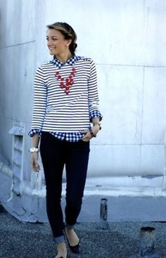 Love this. But I don't know if I could pull off the check/stripe pattern together?