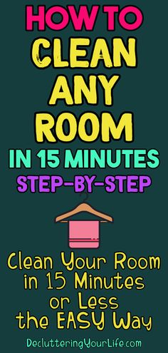 Home organization hacks for decluttering your life! How To Clean Your Room Step By Step - Clean Any Room in 10 Minutes Or Less - Clean MESSY Room FAST with These Speed Cleaning Tips and Room Cleaning Hacks to Clean Your Bedroom or ANY Room the Simple Way Room Cleaning Tips, Deep Cleaning Checklist, Cleaning Schedule Printable, Speed Cleaning, Cleaning Hacks, Bedroom Cleaning, Office Cleaning, Bedroom Hacks, Cleaning Solutions