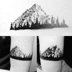 Mountain Nature Armband Tattoo Design For Guys With Pine Tree Forest